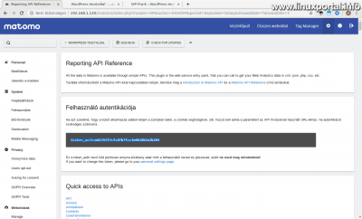Matomo - Beállítások - API