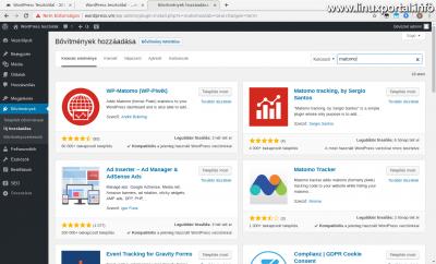 WordPress admin - Matomo plugin keresése