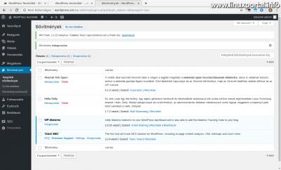 WordPress admin - Telepített bővítmények