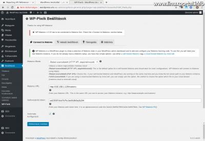 WordPress admin - WP-Piwik Beállítások - Csatlakozás a matomo-hoz