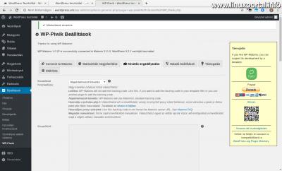 WordPress admin - WP-Piwik Beállítások - Követés engedélyezése (1. kép)