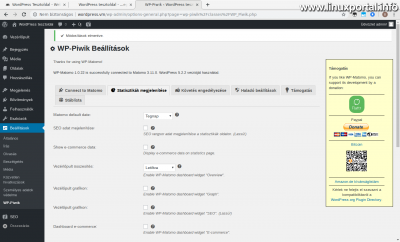 WordPress admin - WP-Piwik Beállítások - Statisztikák megjelenítése (1. kép)