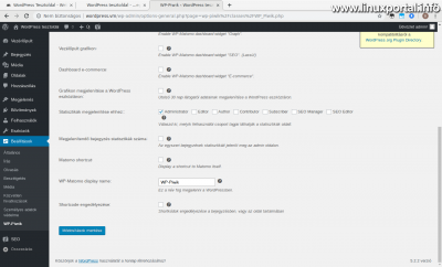 WordPress admin - WP-Piwik Beállítások - Statisztikák megjelenítése (2. kép)