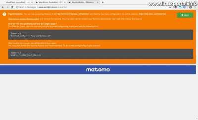 Matomo (Piwik) - Nem megbízható weboldal figyelmeztetés