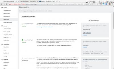 Matomo (Piwik) - Beállítások - Geolokáció - GeoIP 2 (PHP) kiválasztása