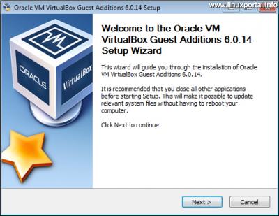 VirtualBox vendég integrációs szolgáltatások (Guest Additions) telepítő 1. ablak