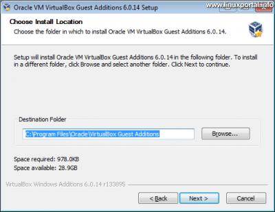 VirtualBox vendég integrációs szolgáltatások (Guest Additions) telepítő 2. ablak - Telepítés helye