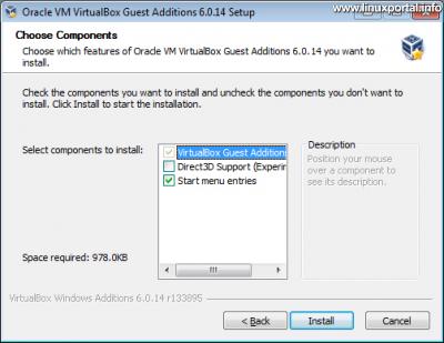 VirtualBox vendég integrációs szolgáltatások (Guest Additions) telepítő 3. ablak - Összetevők kiválasztása