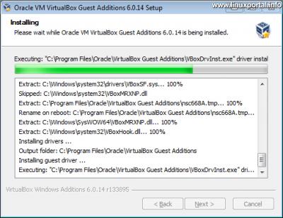 VirtualBox vendég integrációs szolgáltatások (Guest Additions) telepítő 4. ablak - Telepítési folyamat