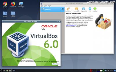 VirtualBox 6.0.14 indító képernyő és infó panel