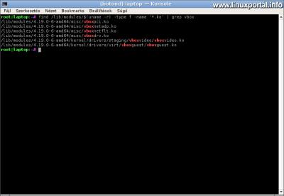VirtualBox - betöltött kernel modulok
