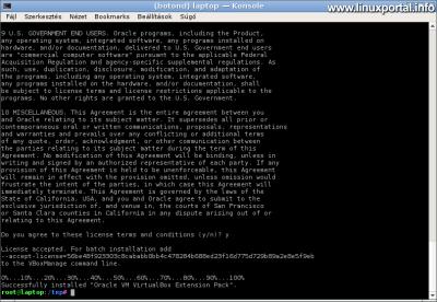 VirtualBox Extension Pack telepítése - Licenc elfogadása és telepítés
