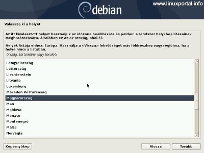 Debian 10 (Buster) minimális szerver telepítése - Ország kiválasztása