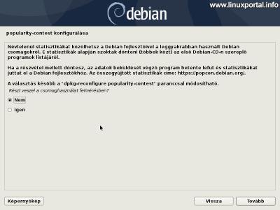 Debian 10 (Buster) minimális szerver telepítése - Popularity-contest konfigurálása