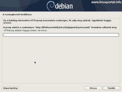Debian 10 (Buster) minimális szerver telepítése - Proxy beállítások
