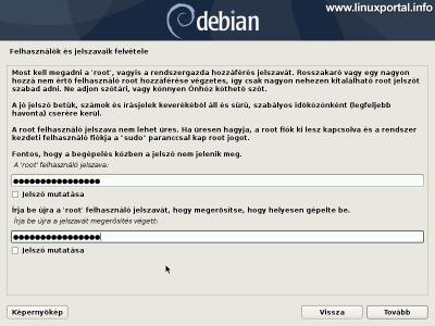 Debian 10 (Buster) minimális szerver telepítése - Root jelszó beállítása