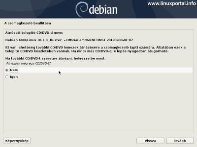 Debian 10 (Buster) minimális szerver telepítése - További CD/DVD telepítőlemezek átnézése