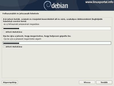 Debian 10 (Buster) minimális szerver telepítése - Új felhasználó jelszava