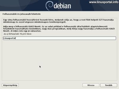 Debian 10 (Buster) minimális szerver telepítése - Új felhasználó teljes nevének megadása