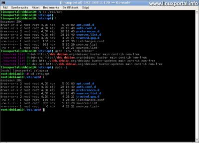 Debian 10 (Buster) minimális szerver beállítása - Közös terminál beállítások ellenőrzése