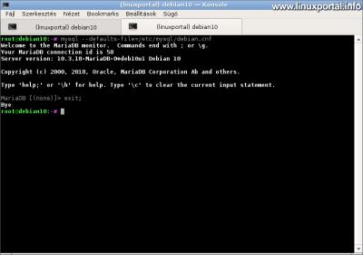 MariaDB root belépés a defaults fájl  használatával