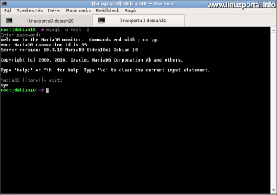 MariaDB root belépés a jelszó begépelésével