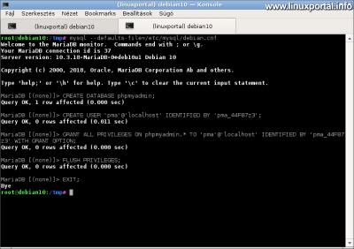 MariaDB - PMA kontroll felhasználó létrehozása