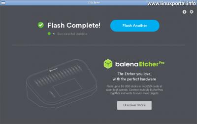 balena Etcher 1.5 - Sikeres művelet