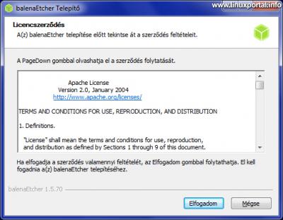 balena Etcher 1.5 - Windows telepítés - licencfeltételek