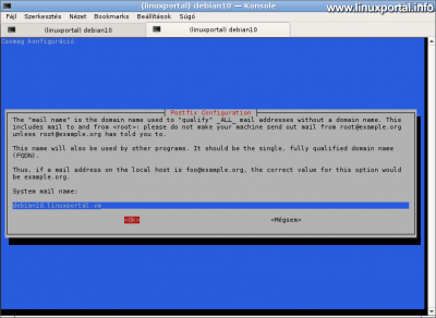 Postfix konfiguráció - Szerver nevének a beállítása