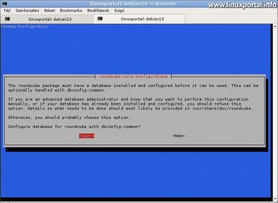 RoundCube konfigurálása a dbconfig-common segítségével