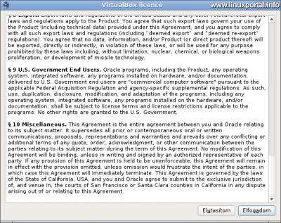 VirtualBox bővítőcsomag telepítése - Licenc feltételek