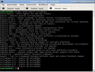 Elérhető VirtualBox csomagok a Debian 9 (Stretch) rendszeren