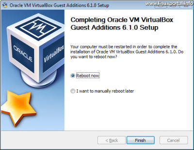 VirtualBox - Guest Additions telepítése Windows vendég gépre - újraindítás
