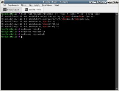 VirtualBox - Kernel modulok ellenőrzése