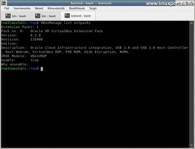 VirtualBox - Extension Pack ellenőrzése
