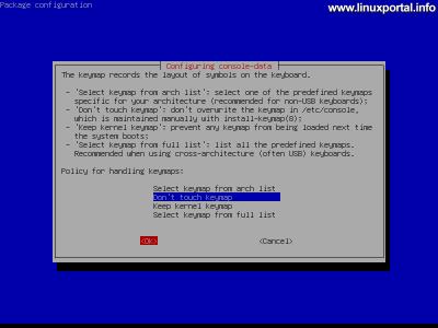 GParted Live - Billentyűzet konfiguráció