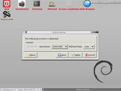 GParted Live - Grafikus felület - Felbontás beállítása