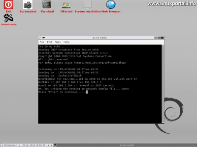 GParted Live - Graphical Interface - Network Configuration