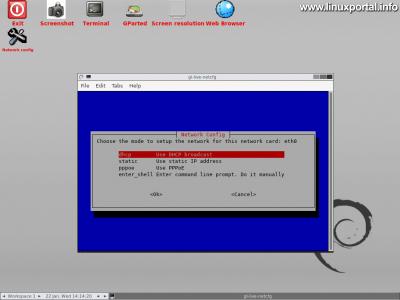 GParted Live - Grafikus felület - Hálózat beállítása
