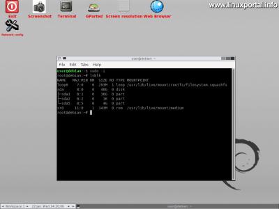 GParted Live - Grafikus felület - Root terminál