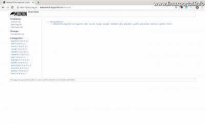 Munin home page after installing extensions