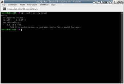 Munin csomag ellenőrzése Debian 10 (Buster) rendszeren