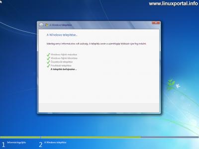 Windows telepítő - Telepítés befejezése