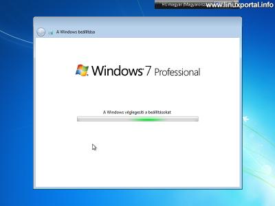 Windows beállítása - Beállítások véglegesítése