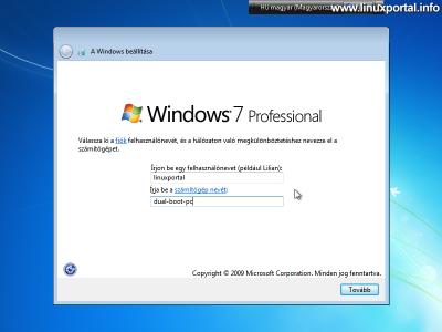 Windows beállítása - Felhasználónév és gépnév