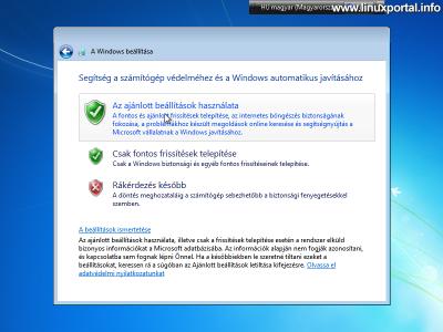 Windows beállítása - Frissítések