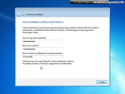 Windows beállítása - Jelszó