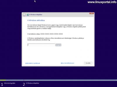 Windows telepítő - Windows aktiválása
