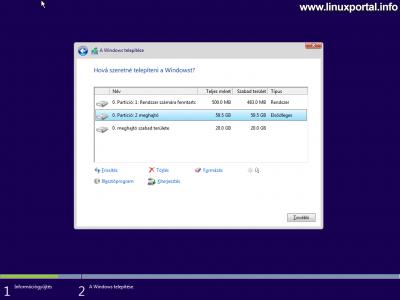 Windows telepítő - Lemez particionálása - Létrehozott új partíciók